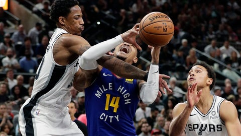 <p>               Denver Nuggets guard Gary Harris (14) is fouled by San Antonio Spurs guard DeMar DeRozan (10) during the first half of Game 6 of an NBA basketball playoff series, Thursday, April 25, 2019, in San Antonio. (AP Photo/Eric Gay)             </p>