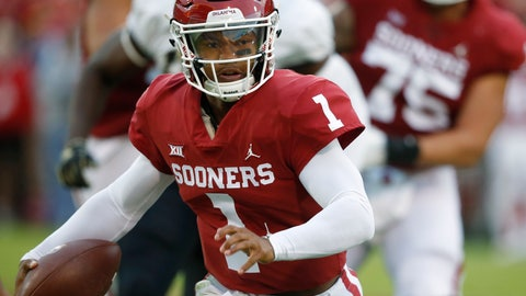 <p>               FILE - In this Sept. 22, 2018, file photo, Oklahoma quarterback Kyler Murray (1) carries for a touchdown in the first half of an NCAA college football game against Army in Norman, Okla.  Murray and Nick Bosa are among the 23 prospects who plan to attend the NFL draft this month in Nashville, Tenn. Murray, the Heisman Trophy-winning quarterback, could be selected No. 1 overall by the Arizona Cardinals. Bosa, a defensive end from Ohio State, also is expected to be a top-three pick. (AP Photo/Sue Ogrocki, File)             </p>