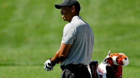 <p>               Tiger Woods smiles on the driving range at the Masters golf tournament Tuesday, April 9, 2019, in Augusta, Ga. (AP Photo/Matt Slocum)             </p>