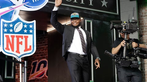 <p>               Florida's Jawaan Taylor enters the stage after the Jacksonville Jaguars selected Taylor in the second round of the NFL football draft, Friday, April 26, 2019, in Nashville, Tenn.(AP Photo/Mark Humphrey)             </p>