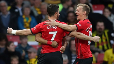 <p>               Southampton's Shane Long celebrates scoring his side's first goal of the game against Watford, during their English Premier League soccer match at Vicarage Road in Watford, London, England, Tuesday April 23, 2019. (Adam Davy/PA via AP)             </p>