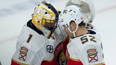<p>               Florida Panthers goaltender Roberto Luongo celebrates with teammate MacKenzie Weegar following their win over the Ottawa Senators in NHL hockey game action Thursday, March 28, 2019, in Ottawa. (Adrian Wyld/The Canadian Press via AP)             </p>