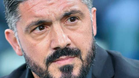 <p>               Milan head coach Gennaro Gattuso looks on during the Italian Serie A soccer match between Juventus and AC Milan at the Allianz Stadium in Turin, Italy, Saturday, April 6, 2019.  (Alessandro Di Marco/ANSA via AP)             </p>