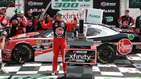 BRISTOL, TN - APRIL 06:  Christopher Bell, driver of the #20 Rheem Toyota, celebrates in Victory Lane after winning the NASCAR Xfinity Series Alsco 300 at Bristol Motor Speedway on April 6, 2019 in Bristol, Tennessee.  (Photo by Donald Page/Getty Images)