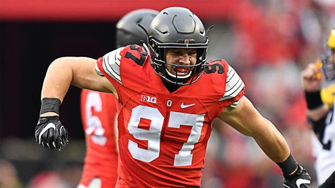 COLUMBUS, OH - NOVEMBER 26:   Nick Bosa #97 of the Ohio State Buckeyes celebrates a sack against the Michigan Wolverines at Ohio Stadium on November 26, 2016 in Columbus, Ohio.  (Photo by Jamie Sabau/Getty Images)