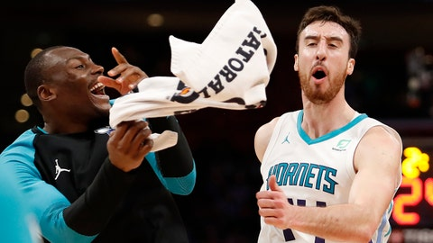 Apr 7, 2019; Detroit, MI, USA; Charlotte Hornets forward Frank Kaminsky (44) celebrates with center Bismack Biyombo (8) during the fourth quarter against the Detroit Pistons at Little Caesars Arena. Mandatory Credit: Raj Mehta-USA TODAY Sports
