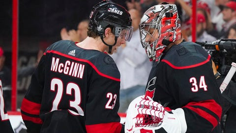 Apr 15, 2019; Raleigh, NC, USA; Carolina Hurricanes goaltender Petr Mrazek (34) and left wing Brock McGinn (23) celebrate their win against the Washington Capitals in game three of the first round of the 2019 Stanley Cup Playoffs at PNC Arena. The Carolina Hurricanes defeated the Washington Capitals 5-0. Mandatory Credit: James Guillory-USA TODAY Sports
