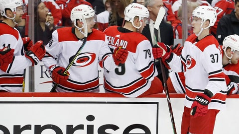 Apr 11, 2019; Washington, DC, USA; Carolina Hurricanes right wing Andrei Svechnikov (37) celebrates with teammates after scoring a goal against the Washington Capitals in the third period in game one of the first round of the 2019 Stanley Cup Playoffs at Capital One Arena. The Capitals won 3-2. Mandatory Credit: Geoff Burke-USA TODAY Sports