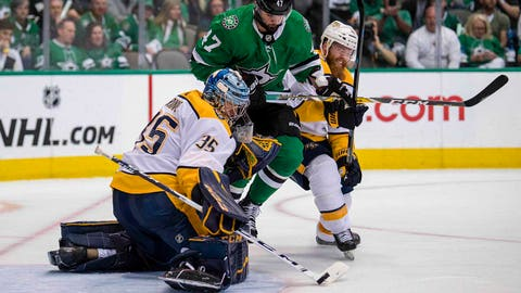 Apr 22, 2019; Dallas, TX, USA; Nashville Predators goaltender Pekka Rinne (35) stops a shot by Dallas Stars right wing Alexander Radulov (47) during the second period in game six of the first round of the 2019 Stanley Cup Playoffs at American Airlines Center. Mandatory Credit: Jerome Miron-USA TODAY Sports