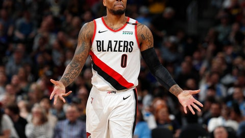 <p>               Portland Trail Blazers guard Damian Lillard reacts after being called for a foul against the Denver Nuggets during the second half of an NBA basketball game Friday, April 5, 2019, in Denver. The Nuggets won 119-110. (AP Photo/David Zalubowski)             </p>