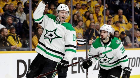 <p>               Dallas Stars center Jason Dickinson (16) celebrates after scoring a goal against the Nashville Predators during the first period in Game 5 of an NHL hockey first-round playoff series Saturday, April 20, 2019, in Nashville, Tenn. At right is Stars center Matts Zuccarello (36), of Norway. (AP Photo/Mark Humphrey)             </p>