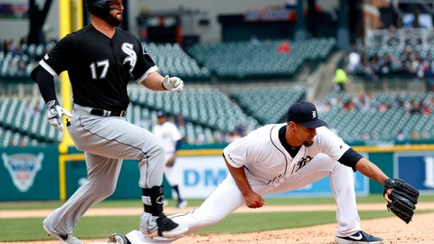 <p>               Chicago White Sox's Yonder Alonso (17) beats the throw to Detroit Tigers pitcher Tyson Ross, covering first base in the sixth inning of a baseball game in Detroit, Thursday, April 18, 2019. Niko Goodrum was charged with an error on the play. (AP Photo/Paul Sancya)             </p>