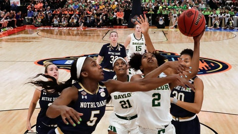 <p>               Baylor guard DiDi Richards (2) goes up for a shot past Notre Dame's Jackie Young (5) during the second half of the Final Four championship game of the NCAA women's college basketball tournament Sunday, April 7, 2019, in Tampa, Fla. (AP Photo/John Raoux)             </p>