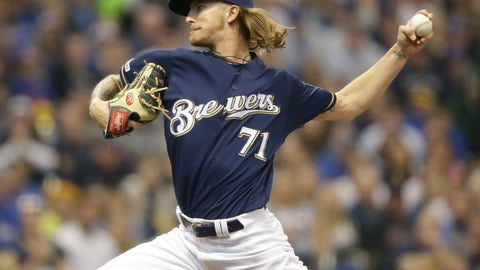 <p>               Milwaukee Brewers pitcher Josh Hader pitches to the Chicago Cubs during the seventh inning of a baseball game Sunday, April 7, 2019, in Milwaukee. (AP Photo/Jeffrey Phelps)             </p>