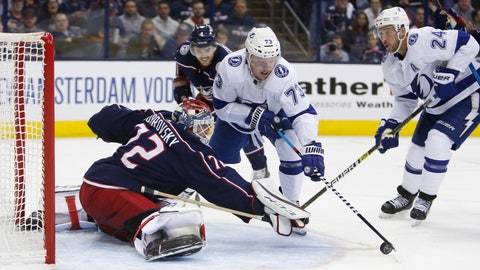 <p>               Columbus Blue Jackets' Sergei Bobrovsky, left, of Russia, makes a save against Tampa Bay Lightning's Adam Erne during the third period of Game 3 of an NHL hockey first-round playoff series Sunday, April 14, 2019, in Columbus, Ohio. The Blue Jackets beat the Lightning 3-1. (AP Photo/Jay LaPrete)             </p>