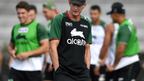 <p>               In this March 20, 2019, photo South Sydney Rabbitohs rugby league head coach Wayne Bennett attends a training session at in Sydney, Australia. It doesn't get much better in this game than an Oscar-winning Hollywood actor and a veteran, high-profile coach teaming up in Australia's National Rugby League. So far Russell Crowe and Wayne Bennett are doing OK as an owner-coach combination, what some may consider to be two beautiful minds in a gladiatorial kind of sport. (Joel Carrett/AAP Image via AP)             </p>