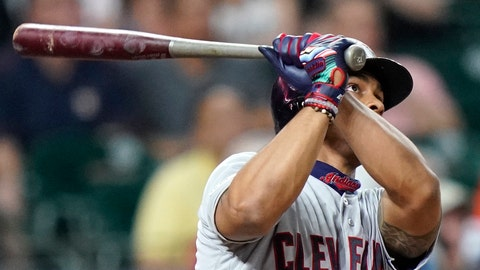 <p>               Cleveland Indians' Francisco Lindor watches his home run against the Houston Astros during the third inning of a baseball game Friday, April 26, 2019, in Houston. (AP Photo/David J. Phillip)             </p>