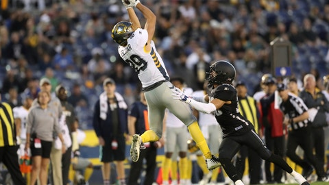 <p>               FILE - In this March 17, 2019, file photo, San Diego Fleet tight end Gavin Escobar (89) makes a critical first down catch on fourth and long over Birmingham Iron defensive back Max Redfield (20) late in the second half of an Alliance of American Football game in San Diego.The Alliance of American Football is suspending operations eight games into its first season. A person with knowledge of the decision tells The Associated Press the eight-team spring football league is not folding, but games will not be played this weekend. The decision was made by majority owner Tom Dundon. The person spoke to The Associated Press on condition of anonymity because league officials were still working through details of the suspension. An announcement from the league is expected later Tuesday, April 2, 2019.(AP Photo/Peter Joneleit, File)             </p>
