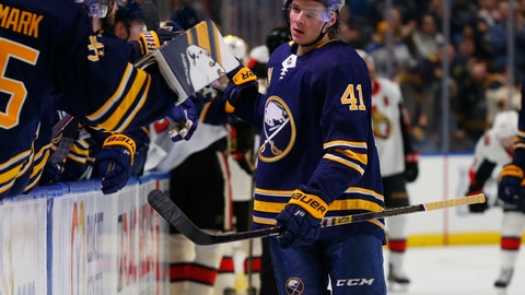 <p>               Buffalo Sabres forward Victor Olofsson (41) celebrates his goal during the first period of the team's NHL hockey game against the Ottawa Senators on Thursday, April 4, 2019, in Buffalo, N.Y. (AP Photo/Jeffrey T. Barnes)             </p>