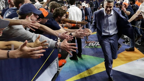 <p>               Virginia head coach Tony Bennett celebrates with fans after the championship game against Texas Tech in the Final Four NCAA college basketball tournament, Monday, April 8, 2019, in Minneapolis. Virginia won 85-77 in overtime. (AP Photo/David J. Phillip)             </p>