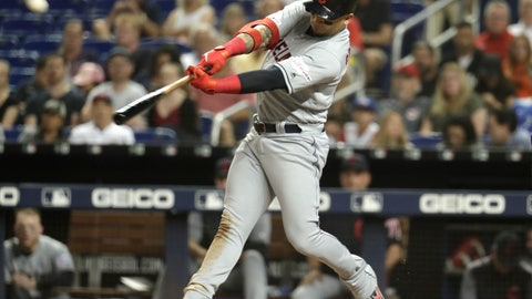 <p>               Cleveland Indians' Carlos Gonzalez hits a three-run home run during the third inning of the team's baseball game against the Miami Marlins, Tuesday, April 30, 2019, in Miami. (AP Photo/Lynne Sladky)             </p>