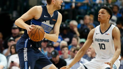 <p>               Dallas Mavericks forward Dirk Nowitzki looks to pass against Memphis Grizzlies forward Ivan Rabb (10) during the first half of an NBA basketball game in Dallas, Friday, April 5, 2019. (AP Photo/LM Otero)             </p>