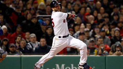 <p>               Boston Red Sox's Dustin Pedroia follows through on his RBI single against the Toronto Blue Jays during the third inning of a baseball game Thursday, April 11, 2019, at Fenway Park in Boston. (AP Photo/Winslow Townson)             </p>