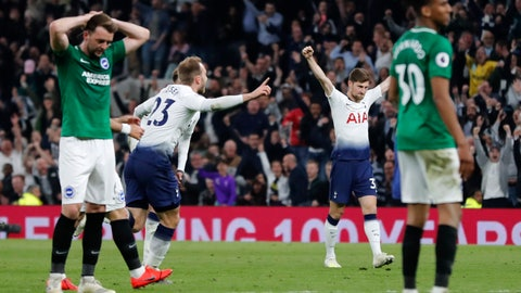 <p>               Tottenham's Christian Eriksen, second left, celebrates scoring his side's first goal during the English Premier League soccer match between Tottenham Hotspur and Brighton & Hove Albion at Tottenham Hotspur stadium in London, Tuesday, April 23, 2019.(AP Photo/Frank Augstein)             </p>