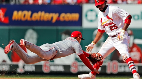 <p>               Cincinnati Reds shortstop Jose Iglesias, left, dives to tag out St. Louis Cardinals' Dexter Fowler (25) when Fowler's foot came off the bag after hitting an RBI-double during the eighth inning of a baseball game Sunday, April 28, 2019, in St. Louis. (AP Photo/Jeff Roberson)             </p>