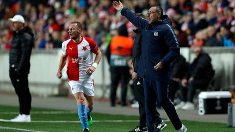 <p>               Chelsea's manager Maurizio Sarri during the UEFA Europa League quarter final match between Slavia Prague and Chelsea at the Sinobo stadium in Prague, Czech Republic, Thursday, April 11, 2019. (AP Photo/Petr David Josek)             </p>