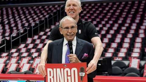 <p>               Los Angeles Clippers broadcaster Ralph Lawler, below, jokes around with former broadcast partner Bill Walton during a news conference prior to an NBA basketball game between the Clippers and and the Utah Jazz on Wednesday, April 10, 2019, in Los Angeles. This is scheduled to be Lawler's last regular-season game before retiring. (AP Photo/Mark J. Terrill)             </p>
