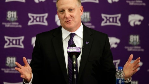 <p>               FILE - In this Dec. 12, 2018, file photo, new Kansas State NCAA college football head coach Chris Klieman speaks at his introductory press conference in Manhattan, Kan. Kansas State is starting to open things up under new coach Chris Klieman, shedding a bit of the shroud of secrecy that longtime coach Bill Snyder had developed. Parts of practice are open to reporters, the coaching staff has embraced social media, and the result is a palpable buzz around what had been a stagnating program. (AP Photo/Orlin Wagner, File)             </p>