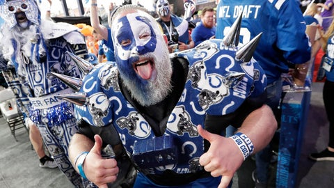 <p>               A Indianapolis Colts fan cheers ahead of the first round at the NFL football draft, Thursday, April 25, 2019, in Nashville, Tenn. (AP Photo/Mark Humphrey)             </p>