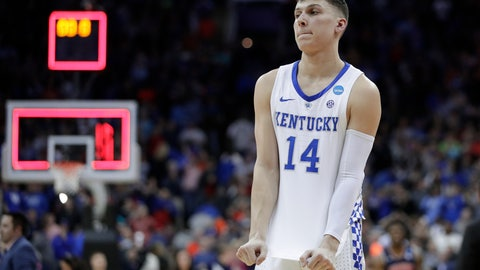 <p>               Kentucky's Tyler Herro reacts as time expires in overtime during the Midwest Regional final game against Auburn in the NCAA men's college basketball tournament Sunday, March 31, 2019, in Kansas City, Mo. Auburn won 77-71 in overtime. (AP Photo/Charlie Riedel)             </p>