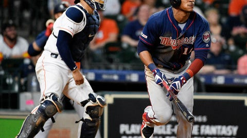 <p>               Minnesota Twins' Jorge Polanco, right, watches his two-run home run off Houston Astros relief pitcher Chris Devenski during the eighth inning of a baseball game, Monday, April 22, 2019, in Houston. (AP Photo/Eric Christian Smith)             </p>