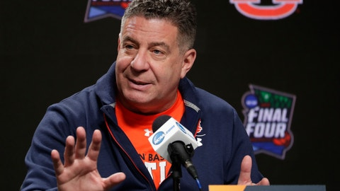 <p>               Auburn head coach Bruce Pearl answers questions after a practice session for the semifinals of the Final Four NCAA college basketball tournament, Thursday, April 4, 2019, in Minneapolis. (AP Photo/Matt York)             </p>