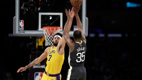 <p>               Golden State Warriors' Kevin Durant (35) shoots over Los Angeles Lakers' JaVale McGee during the first half of an NBA basketball game Thursday, April 4, 2019, in Los Angeles. (AP Photo/Marcio Jose Sanchez)             </p>