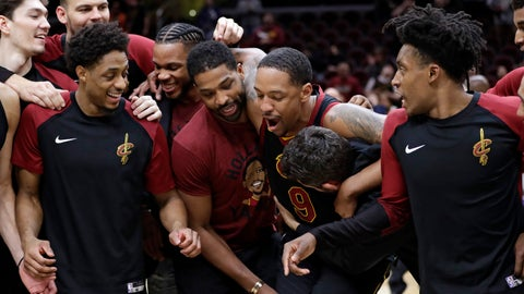 <p>               Teammates tackle Cleveland Cavaliers' Channing Frye after an NBA basketball game against the Charlotte Hornets, Tuesday, April 9, 2019, in Cleveland. Frye is retiring after 13 seasons. Charlotte won 124-97. (AP Photo/Tony Dejak)             </p>