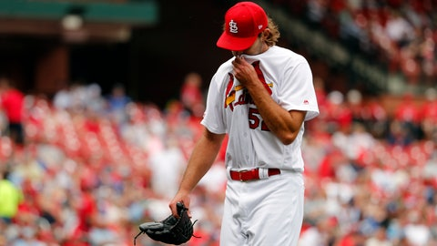 <p>               St. Louis Cardinals starting pitcher Michael Wacha walks off the field after being removed during the fourth inning of a baseball game against the Los Angeles Dodgers Thursday, April 11, 2019, in St. Louis. (AP Photo/Jeff Roberson)             </p>