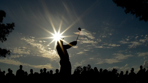 <p>               Francesco Molinari, of Italy, hits a drive on the 18th hole during the third round for the Masters golf tournament Saturday, April 13, 2019, in Augusta, Ga. (AP Photo/Charlie Riedel)             </p>