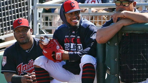 <p>               FILE - In this March 18, 2019, file photo, injured Cleveland Indians shortstop Francisco Lindor, center, smiles as he watches his teammates during the first inning of a spring training baseball game against the San Diego Padres in Goodyear, Ariz. Lindor says he's ready to make his season debut after being injured. Lindor sat out Cleveland's first 18 games with a sprained ankle he sustained during spring training in Arizona while recovering from an offseason calf injury. He's expected to be in Cleveland's lineup this weekend against Atlanta. (AP Photo/Ross D. Franklin, File)             </p>