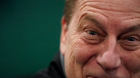 <p>               Michigan State head coach Tom Izzo smiles after a practice session for the semifinals of the Final Four NCAA college basketball tournament, Thursday, April 4, 2019, in Minneapolis. (AP Photo/David J. Phillip)             </p>