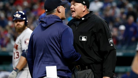 <p>               Houston Astros manager AJ Hinch argues with umpire Jeanmar Gomez, right, during the second inning of the team's baseball game against the Texas Rangers in Arlington, Texas, Wednesday, April 3, 2019. Hinch was ejected during the argument. (AP Photo/Tony Gutierrez)             </p>