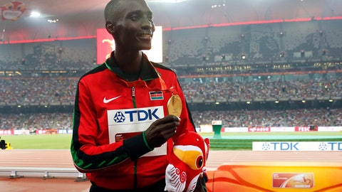 <p>               FILE - In this file photo dated Sunday, Aug. 30, 2015, Kenya's Asbel Kiprop shows his gold medal after winning the men's 1500m final at the World Athletics Championships at the Bird's Nest stadium in Beijing, Sunday, Aug. 30, 2015. Former Olympic and three-time world champion Asbel Kiprop of Kenya was banned for four years Saturday for testing positive for the blood-boosting drug EPO after his claim that urine samples might have been tampered with by disreputable doping control officers was rejected. (AP Photo/Ng Han Guan, FILE)             </p>