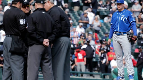 <p>               Kansas City Royals starting pitcher Brad Keller, right, looks at the umpires after Chicago White Sox's Tim Anderson was hit by a pitch by him as benches cleared during the sixth inning of a baseball game in Chicago, Wednesday, April 17, 2019. The Royals won 4-3. (AP Photo/Nam Y. Huh)             </p>