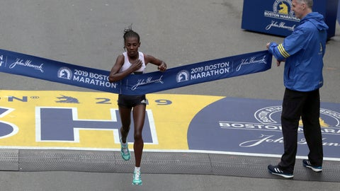 <p>               Worknesh Degefa, of Ethiopia, breaks the tape to win the women's division of the 123rd Boston Marathon on Monday, April 15, 2019, in Boston. (AP Photo/Charles Krupa)             </p>