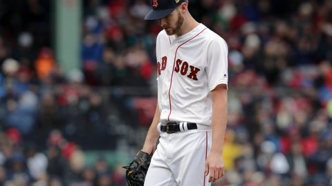 <p>               Boston Red Sox starting pitcher Chris Sale walks off the mound after the top of the fourth inning of the home opener baseball game against the Toronto Blue Jays, Tuesday, April 9, 2019, in Boston. (AP Photo/Charles Krupa)             </p>