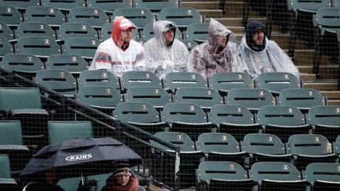 <p>               Baseball fans watch during the fifth inning of a baseball game between the Tampa Bay Rays and the Chicago White Sox in Chicago, Wednesday, April 10, 2019. (AP Photo/Nam Y. Huh)             </p>