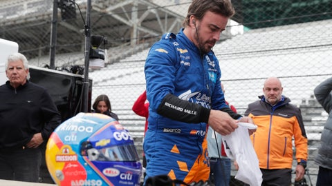 <p>               IndyCar driver Fernando Alonso, of Spain, prepares to drive during testing at the Indianapolis Motor Speedway in Indianapolis, Wednesday, April 24, 2019. (AP Photo/Michael Conroy)             </p>
