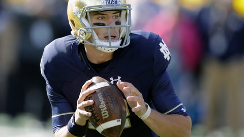 <p>               FILE - In this Oct. 13, 2018, file photo, Notre Dame quarterback Ian Book (12) throws during the first half of an NCAA college football game against Pittsburgh, in South Bend, Ind. At a school that has produced its share of legendary quarterbacks, the 6-foot, 208-pound senior was told by coach Brian Kelly and offensive coordinator Chip Long to push the envelope this spring. (AP Photo/Darron Cummings, File)             </p>